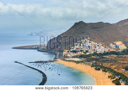 Famous Beach Playa De Las Teresitas,tenerife, Canary Islands, Spain