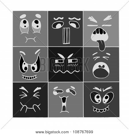 Hand Drawn Cartoon Monster Faces