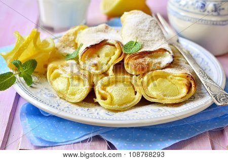 Pancake Baked With Curd  Lemon Filling.