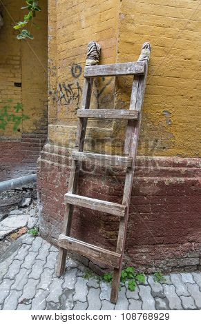 Old Portable Staircase In An Abandoned Yard. Vintage