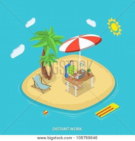 Distant work isometric flat vector concept.