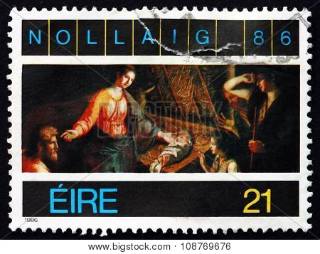 Postage Stamp Ireland 1987 Adoration Of The Shepherds, Painting