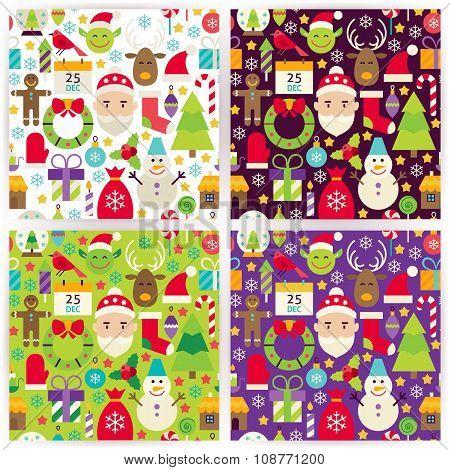 Four Vector Flat Merry Christmas Patterns Set