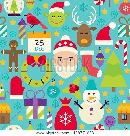 Merry Christmas Flat Design Vector Blue Seamless Pattern