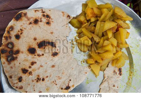 Indian street food, chapati and curry vegetable