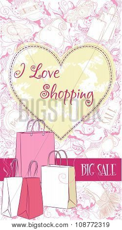 Vector decorative design card with shopping bags