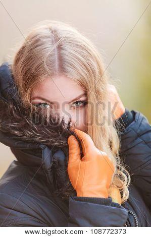 Portrait Of Pretty Attractive Woman In Jacket.