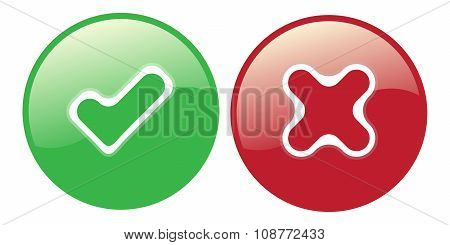 Yes No Check Choice Mark Button Vector Web Element Isolated Vote Red Cross And Green Hook Icon