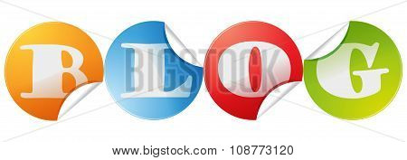 Blog Letters Vector Sticker Icon