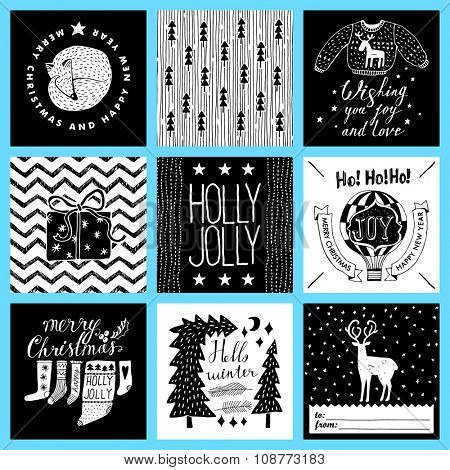 Christmas and New Year's Cards Collection. Set of Winter Holiday card templates. Christmas Posters set. Tags.