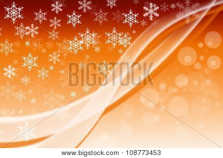Vertical yellow digital background with white snowflakes and motion effect