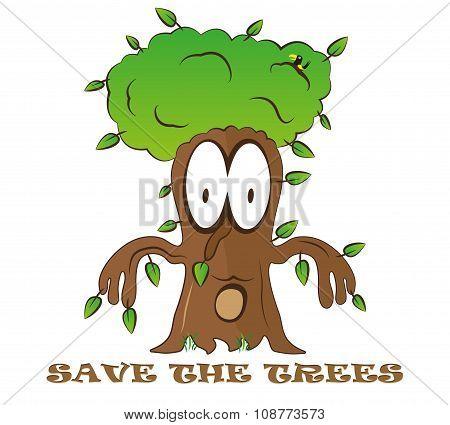 Save Tree Cartoon Fantasy Green Eco Illustration
