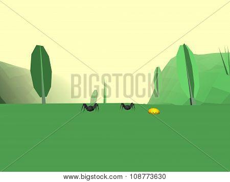 Low Poly Retro Style Bug World