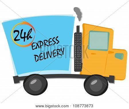 Cartoon Vector Illustration Express Delivery Truck With  24 Hours Text