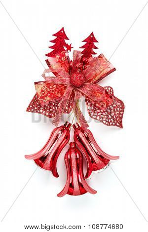 Red christmas bell decoration hanging on white background