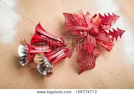 Christmas bells on paper background.