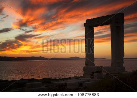 Apollo Temple's entrance on Naxos island in Greece at sunset