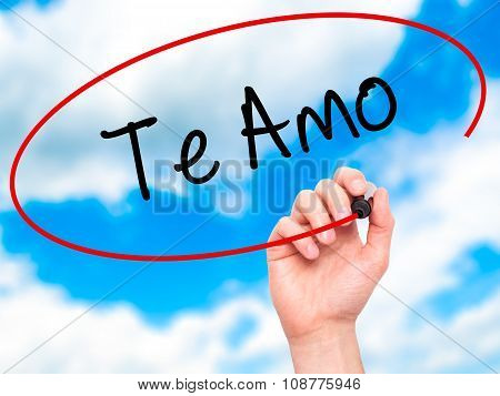 Man Hand writing Te Amo ( I Love You In Spanish) with black marker on visual screen.