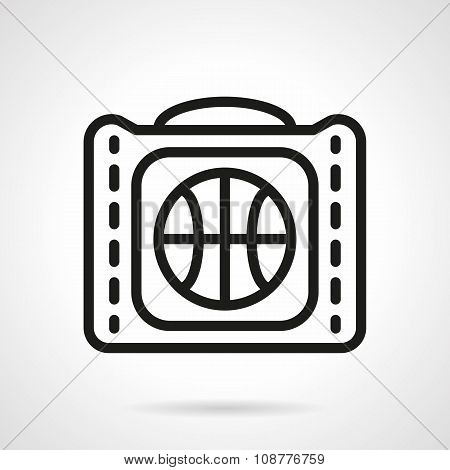 Basketball bag black simple line vector icon