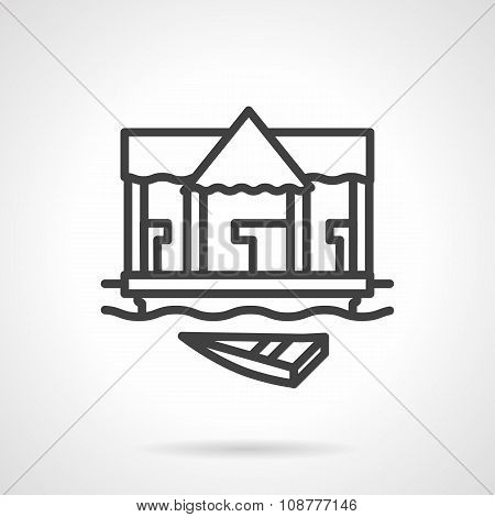 Village jetty black simple line vector icon