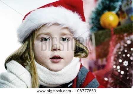 Cute Little Girl In Red Santa Hat Christmas Portrait