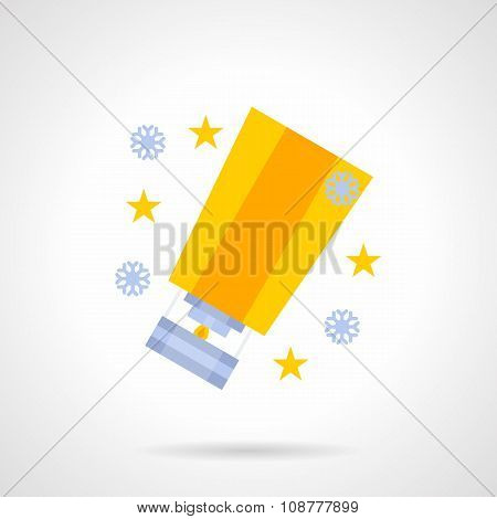 Yellow bright sky lantern flat color vector icon