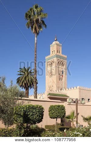 Palm trees and minaret of Koutoubia mosque at Marrakesh, Morocco