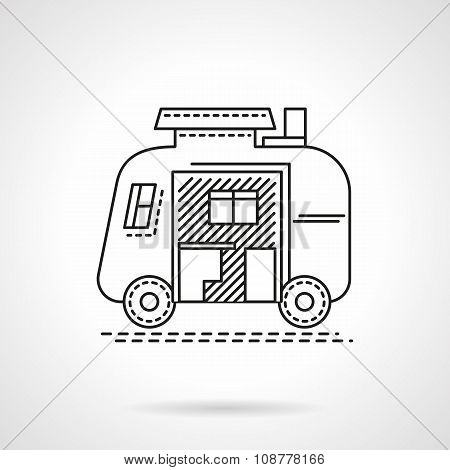Camping trailer flat line vector icon