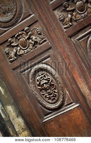 Wooden Door On A Facade