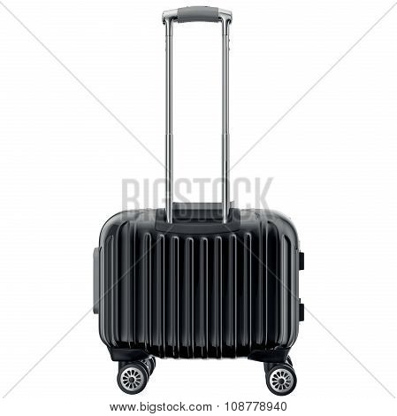Travel luggage black, back view
