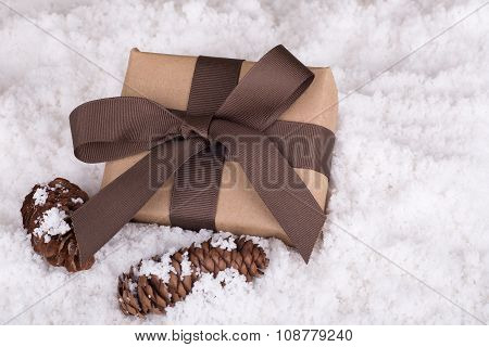 Brown Gift And Pinecones
