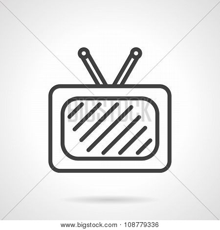 TV black simple line vector icon