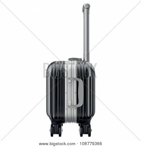 Black luggage on wheels, side view