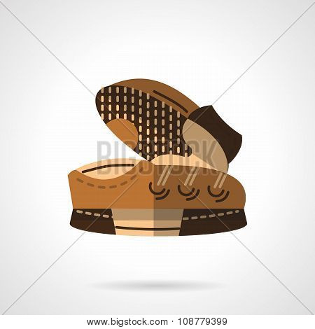 Flat color sneakers pair vector icon