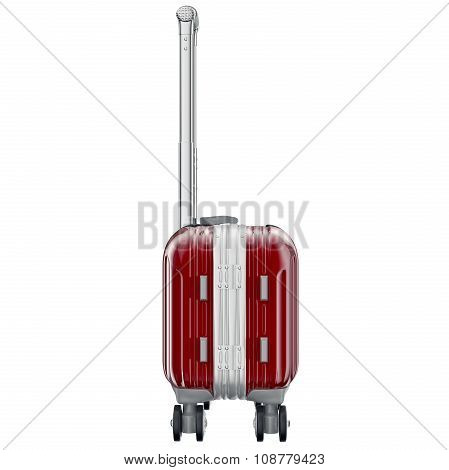 Luggage on wheels red, side view