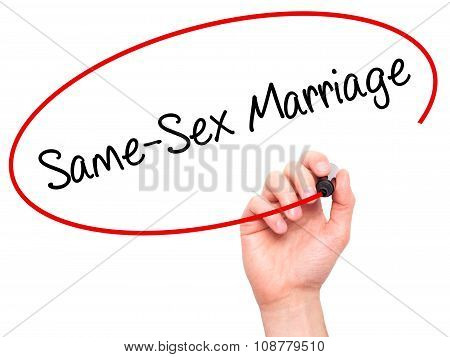 Man Hand writing Same-Sex Marriage with black marker on visual screen.