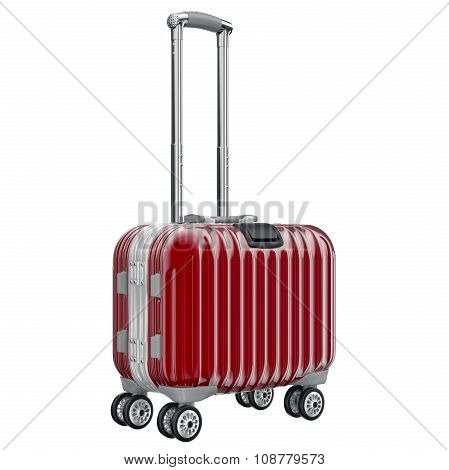 Red metal luggage for travel