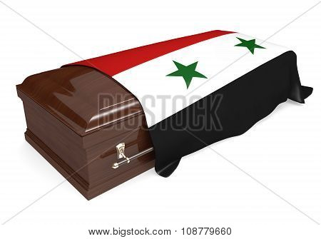 Coffin covered with the national flag of Syria