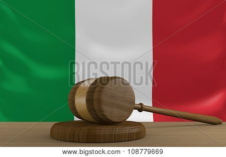 Italy law and justice system with national flag