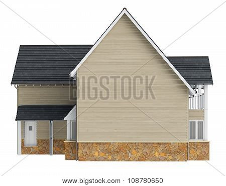 Country house lined with wooden siding, front view