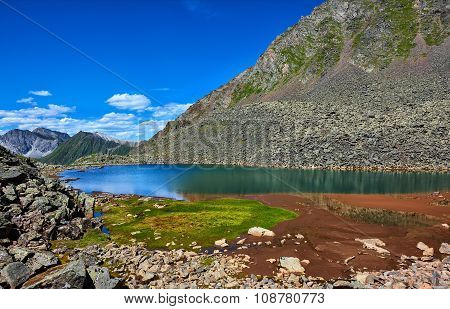 Patch Of Green Grass On Edge Of A Mountain Lake