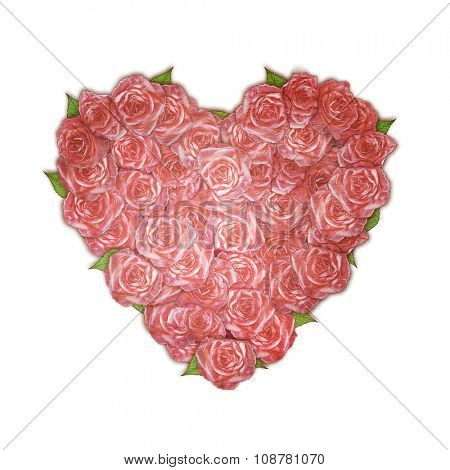 vintage bouquet of roses in a heart shape