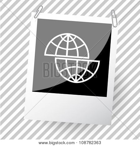 shift globe. Photoframe. Raster icon.