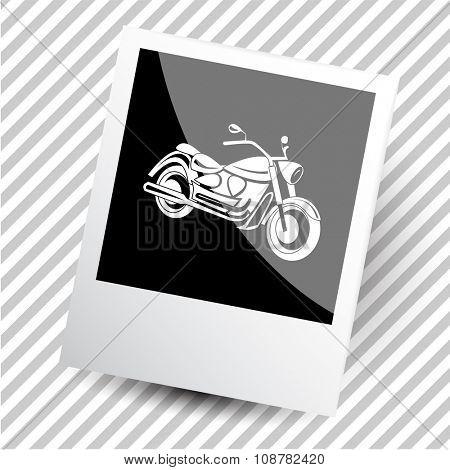 motorcycle. Photoframe. Raster icon.