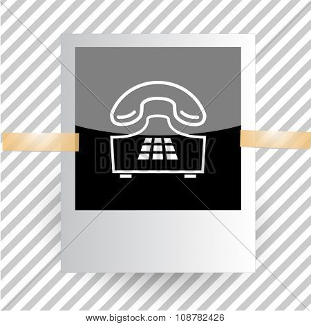 push-button telephone. Photoframe. Raster icon.