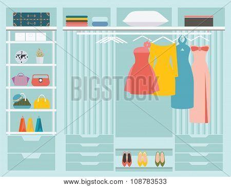 Flat Design Walk In Closet.