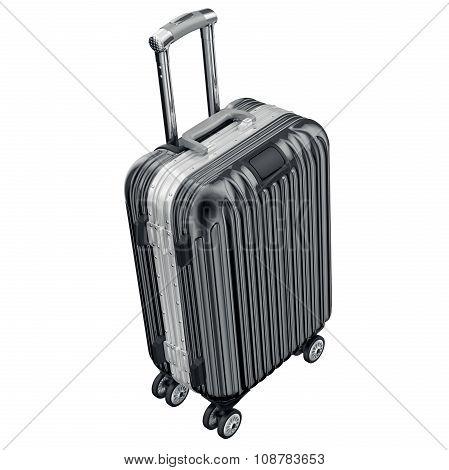 Black luggage on wheels