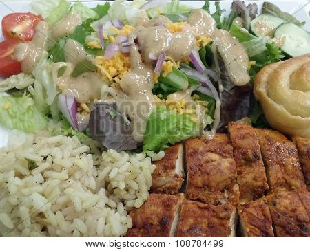 Chicken, Rice, and Salad