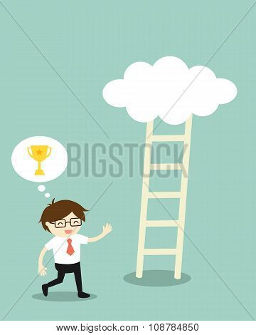 Businessman going to climb the ladder because he thinks it will have a golden winner.