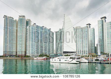 Busan, Korea - September 19, 2015: Marine City With Yacht